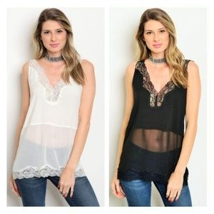 Small Black/Ivory Sheer Lace Top